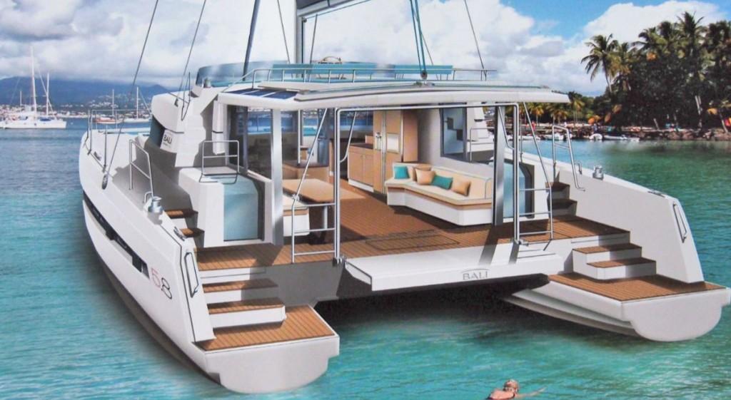 Dessin du projet de construction du catamaran Bali5.8