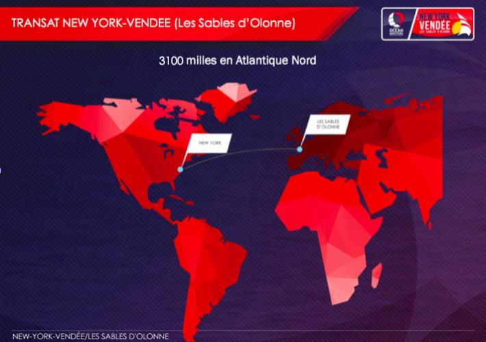 Carte du trajet New york-Vendee