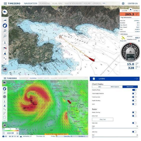 Cartographie marine du logiciel TimeZero
