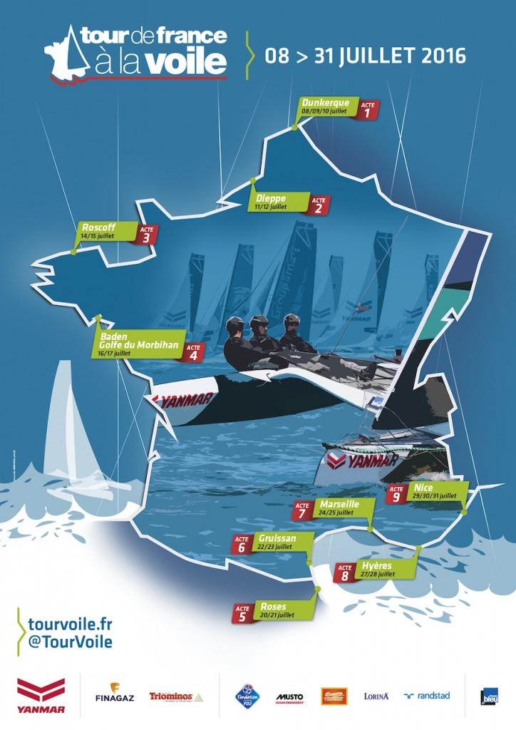 Cartographie des étapes du tour de France à la voile 2016