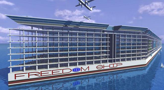 Maquette 3D de la ville flottante Freedom Ship