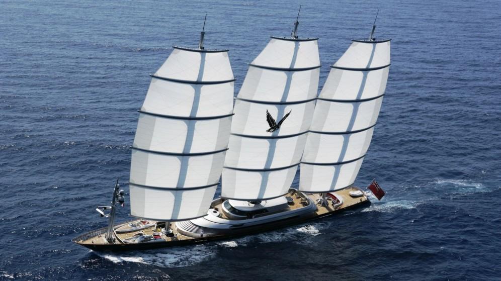 Photographie du voilier Maltese Falcon en pleine mer
