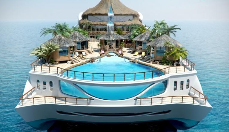 Maquette 3D du yacht Tropical Island Paradise